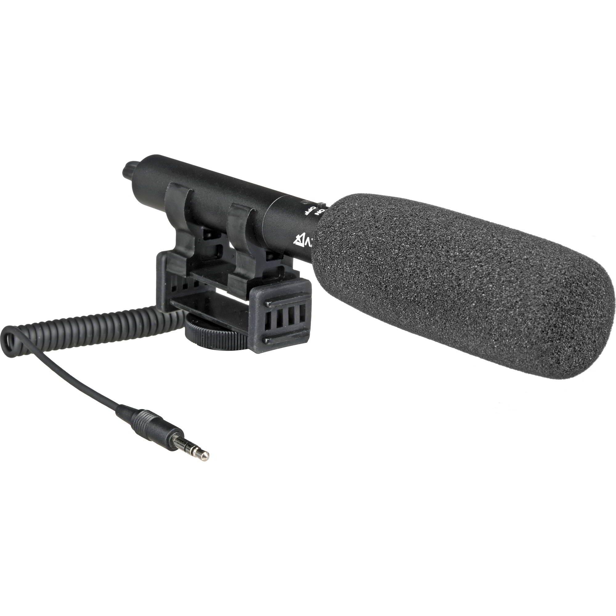 SMX-10 Microfono direzionale stereo, spinotto Jack tipo TRS da 3,5mm. Supporto anti-shock integrato. Fornito con spugnetta antivento.